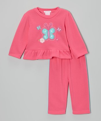 Fuchsia Butterfly Ruffle Fleece Top & Pants