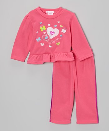 Fuchsia 'Love' Ruffle Fleece Top & Pants
