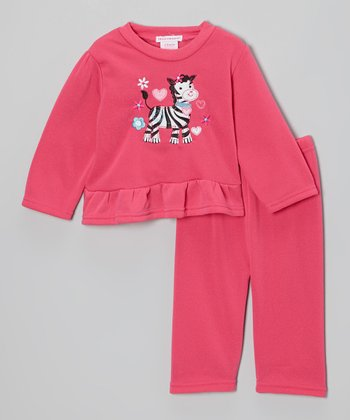 Pink Zebra Ruffle Fleece Top & Pants