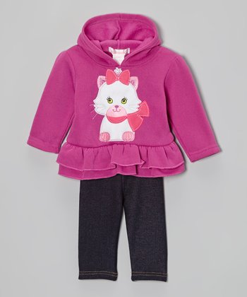 Purple Kitten Ruffle Fleece Hoodie & Jeggings