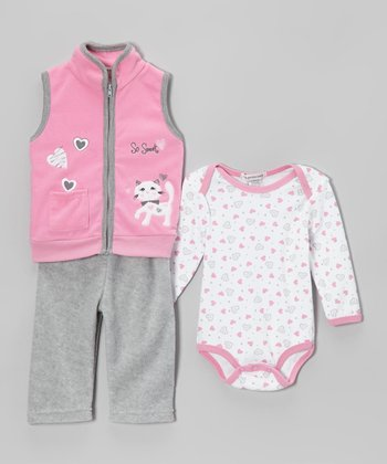 Light Pink & Gray Kitten Fleece Vest Set