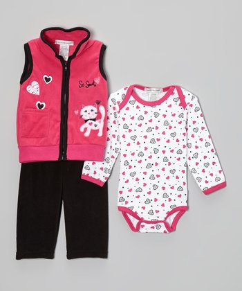 Fuchsia & Black Kitten Fleece Vest Set