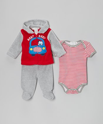 Red & Gray 'Beep Beep' Fleece Footie Pants Set
