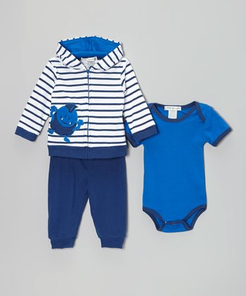Blue & Navy Stripe Monster Zip-Up Hoodie Set