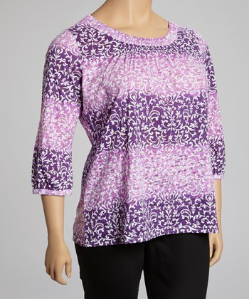 Lilac & Purple Filigree Scoop Neck Top - Plus
