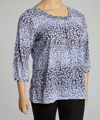 Navy & Blue Filigree Scoop Neck Top - Plus