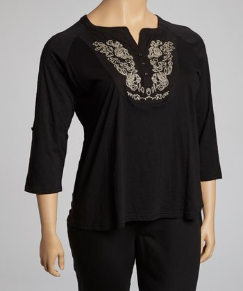 Black Filigree Embroidered Henley Top - Plus