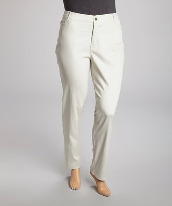 Khaki Five-Pocket Jeans - Plus