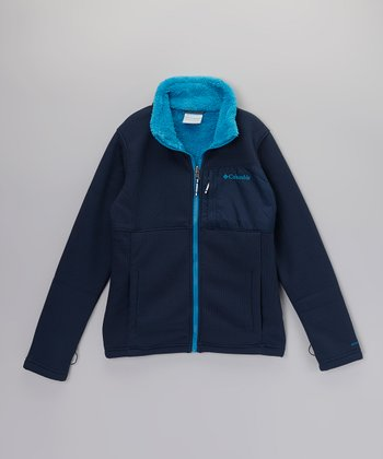 Collegiate Navy Snow Grid Fleece Jacket - Kids
