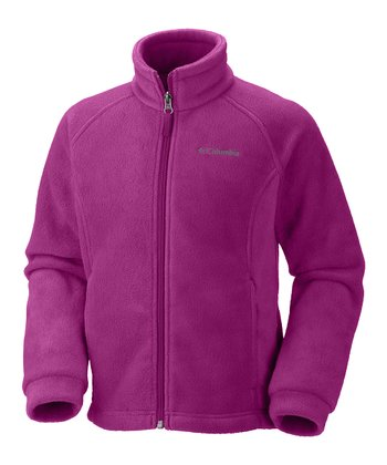 Deep Blush Benton Springs Fleece Jacket - Girls