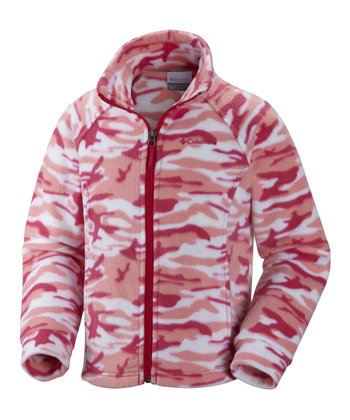 Bright Rose Camo Benton Springs Fleece Jacket - Kids