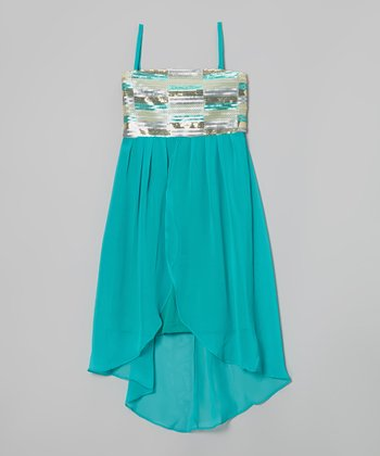 Aqua Margaret Sequin Hi-Low Dress