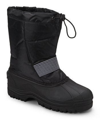 Black Stripe Panel Boot - Kids