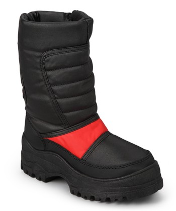 Black & Red Quilted Boot