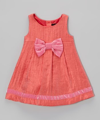 Tangerine & Fuchsia Daisy Bow Swing Dress - Infant