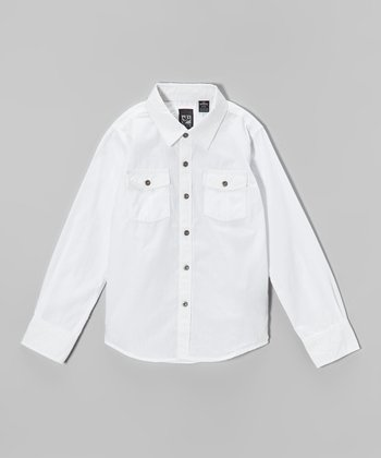 White Charlie Button-Up - Boys