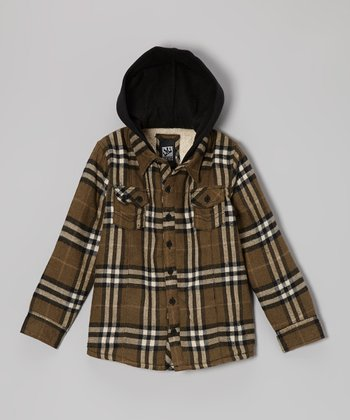 Olive Sherpa Flannel Jacket - Toddler & Boys