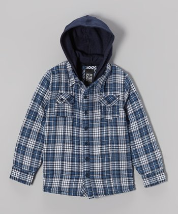Blue Sherpa Flannel Jacket - Toddler & Boys