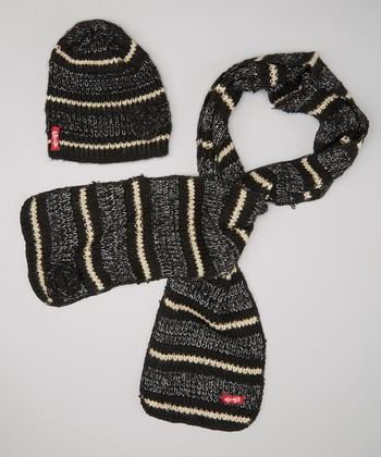 Black Stripe Flower Beanie & Scarf