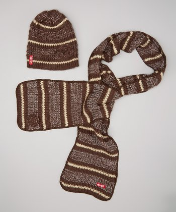 Brown Stripe Flower Beanie & Scarf