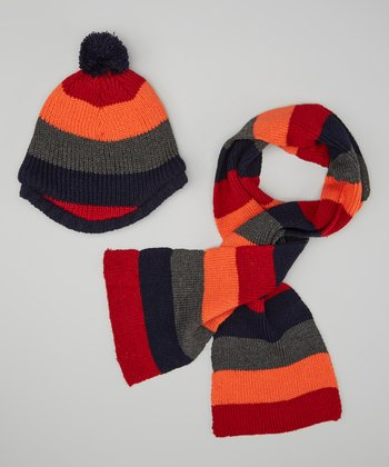 Orange & Gray Stripe Pom-Pom Beanie & Scarf