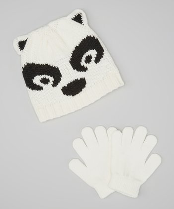 White & Black Bear Beanie & Gloves