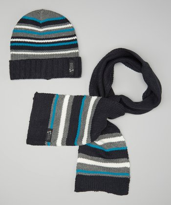 Navy & Gray Stripe Beanie & Scarf