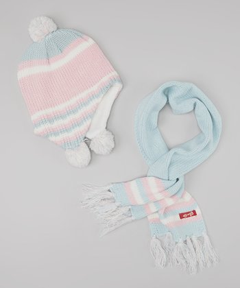 Light Pink & Blue Pom-Pom Beanie & Scarf