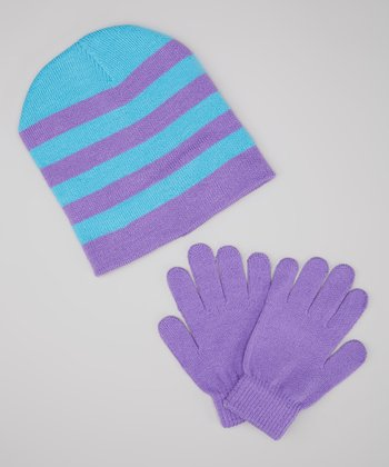 Purple & Blue Stripe Beanie & Gloves
