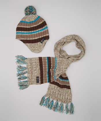 Brown Stripe Ribbed Earflap Beanie & Scarf