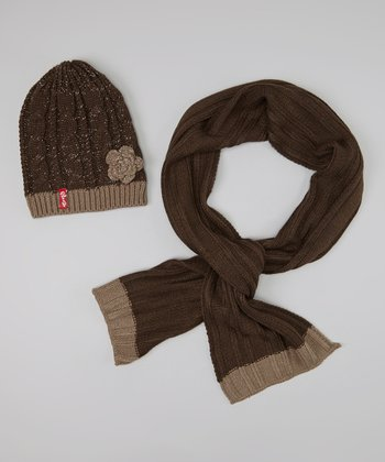Brown Ribbed Flower Beanie & Scarf