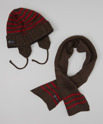 Dark Gray & Red Stripe Beanie & Scarf