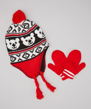 Red & Black Bear Earflap Beanie & Mittens