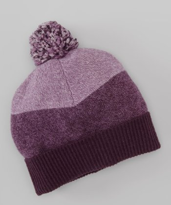 Lilac Color Block Wool Pom-Pom Beanie