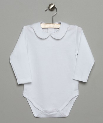 White Peter Pan Collar Long-Sleeve Bodysuit - Infant & Toddler