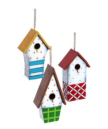 Blue, Red & Green Dots Birdhouse Set