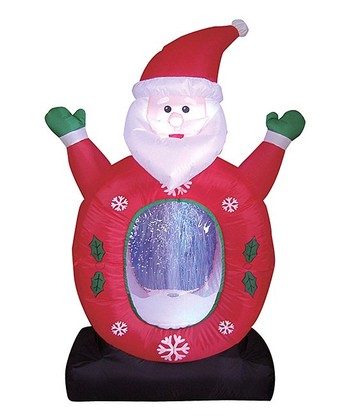BZB Goods Santa Claus Snow Globe Inflatable Light-Up Lawn Decoration