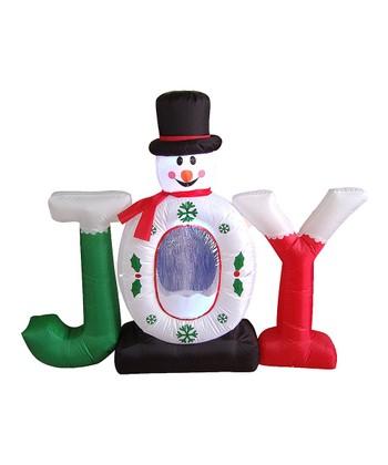 BZB Goods Snowman 'Joy' Snow Globe Inflatable Light-Up Lawn Decoration