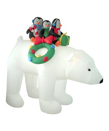BZB Goods Penguins & Polar Bear Ride Inflatable Lawn Decoration