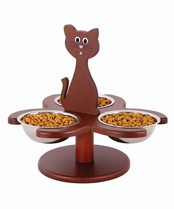 Brown Wood Multi-Cat Feeder