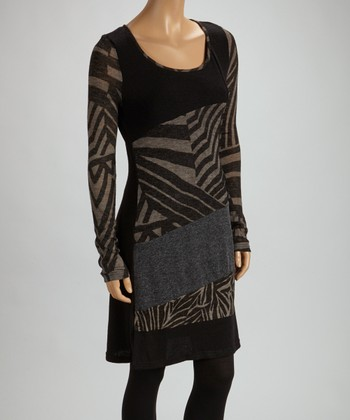 Christine Phillipë Black Geometric Color Block Top