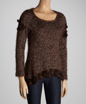 Christine Phillipë Brown Marled Fuzzy Pom-Pom Sweater