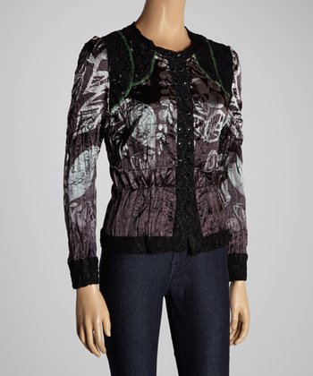 Christine Phillipë Black & Gray Leaf Button-Up Top