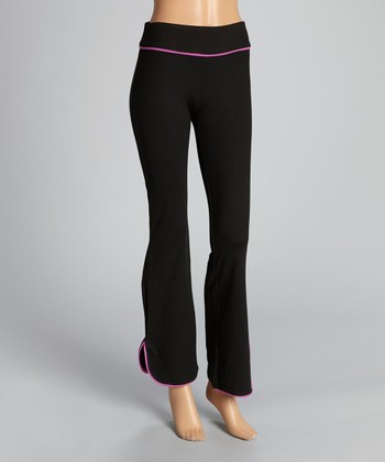 Black & Sugar Plum Reflect Relaxed-Fit Pants - Women
