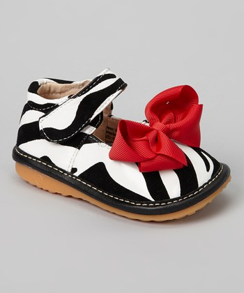 Black & Red Zebra Squeaker Mary Jane