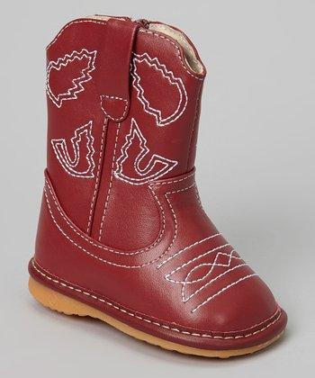 Laniecakes Dark Red Squeaker Cowboy Boot