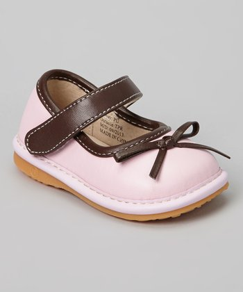 Laniecakes Pink & Brown Bow Squeaker Mary Jane