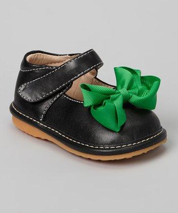 Laniecakes Black & Green Bow Squeaker Mary Jane
