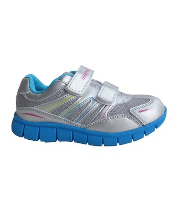 Dream Seek Silver & Blue Double-Strap Running Shoe