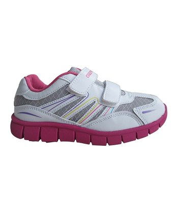 White & Fuchsia Double-Strap Running Shoe